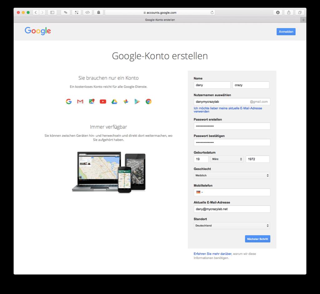 ON AIR Appbuilder - Google Konto erstellen