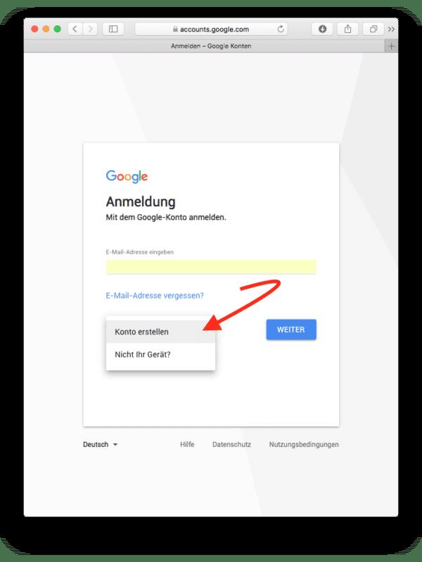 ON AIR Appbuilder - Google Developer Account erstellen