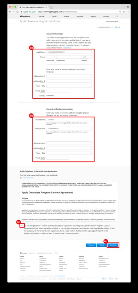 ON AIR Appbuilder - Apple Developer Account Adressdaten eingeben