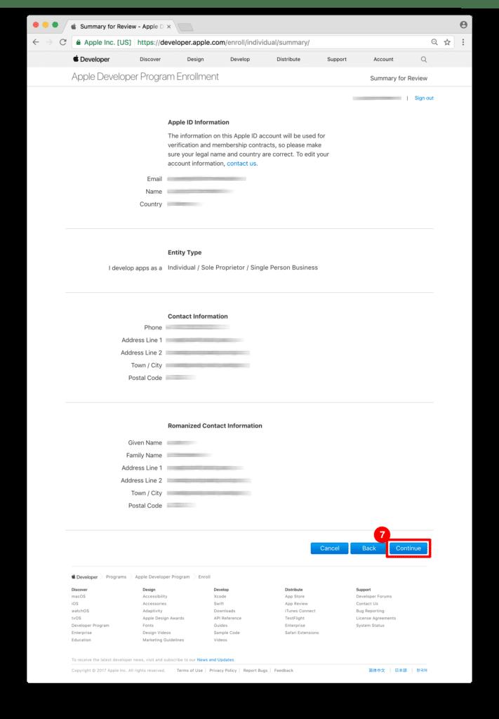 ON AIR Appbuilder - Apple Developer Account Adressdaten bestätigen
