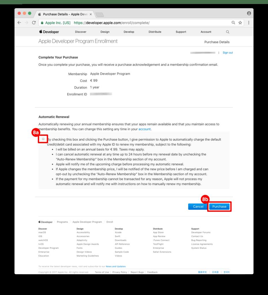 ON AIR Appbuilder - Apple Developer Account Kaufbestätigung