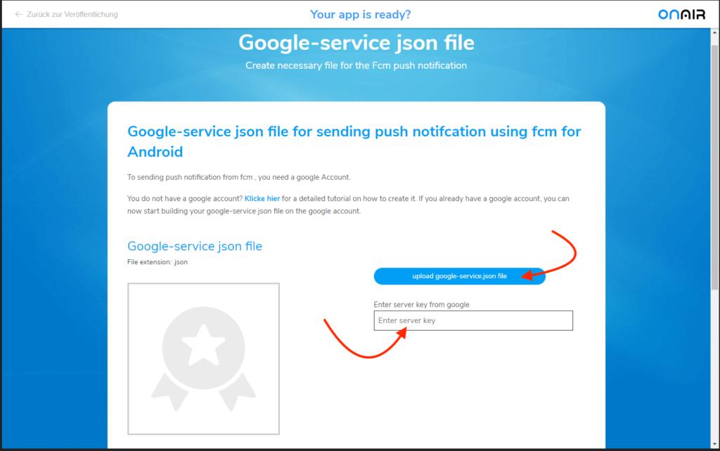 ON AIR Appbuilder - Google-Service JSON Datei - Cockpit 3