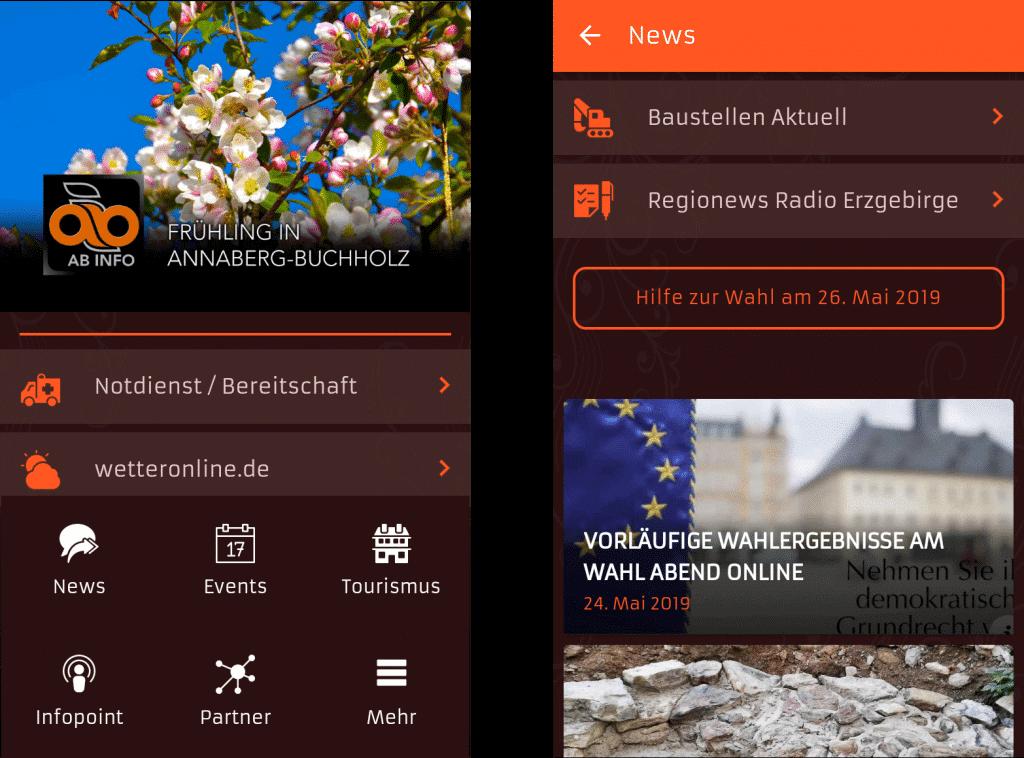 ON AIR Appbuilder - Annaberg-Buchholz App Screens