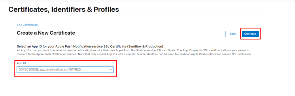 ON AIR Appbuilder - Apple Certificates - Step 12